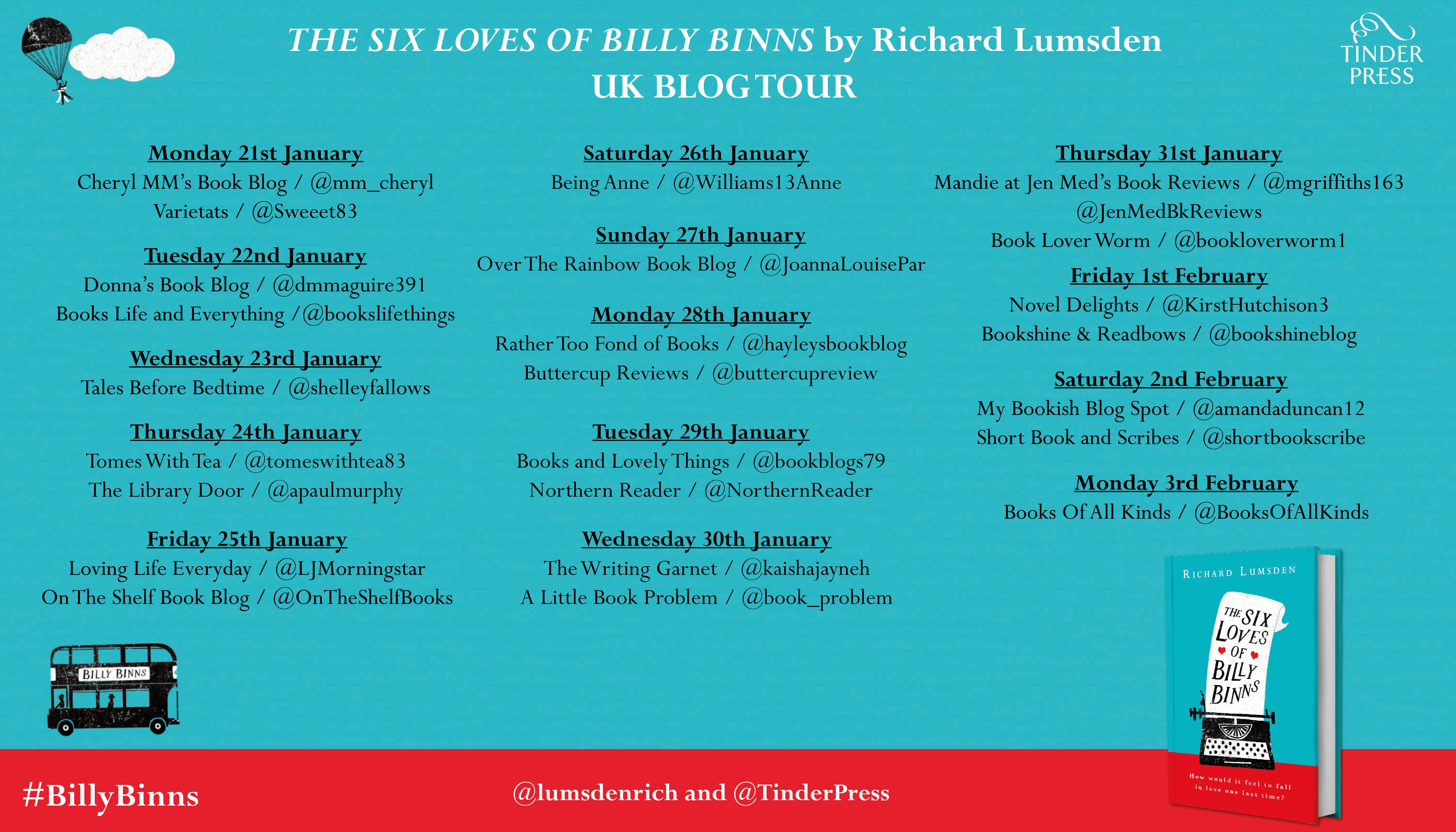 six lives of billy binns blog tour poster