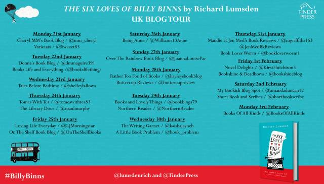 six lives of billy binns blog tour poster