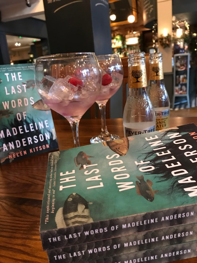 Pink gin with Helen's book